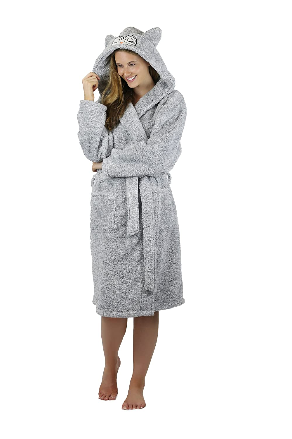 Womens Soft Cosy Two Tone Dressing Gown Robe With Animal Hood Design ...