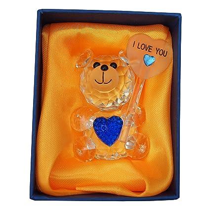 Oso de peluche de cristal con corazón azul y te quiero firmar ...