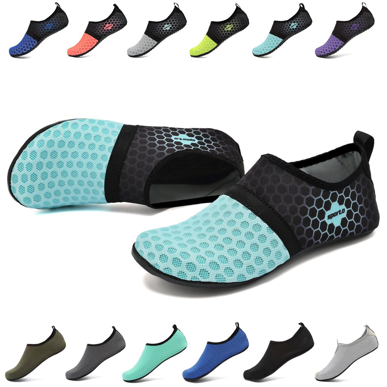 EASTSURE Snorkeling Shoes Water Sport Shoes Aqua Socks for Men Women Beach Swim Surf Yoga Light Blue 38-39