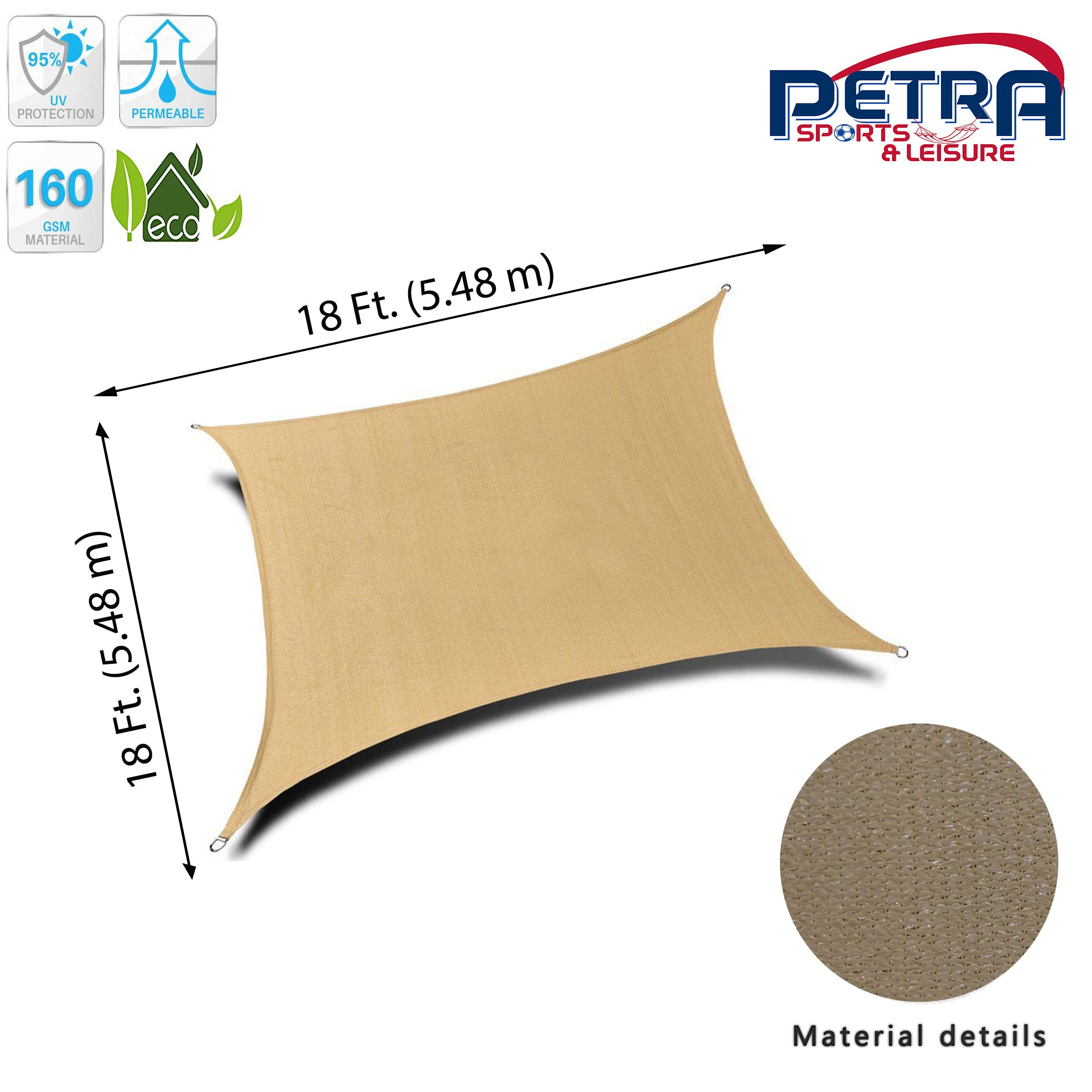 Petra's 18 Ft. X 18 Ft. Square Sun Sail Shade. Durable Woven Outdoor Patio Fabric w/Up To 90% UV Protection. 18x18 Foot. (Desert Sand)