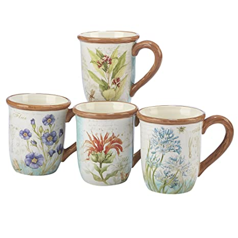 b9e0441aa84 Amazon.com | Certified International Herb Blossoms Set/4 Mug 18 oz.,  Assorted Designs, One Size, Multicolored: Coffee Cups & Mugs