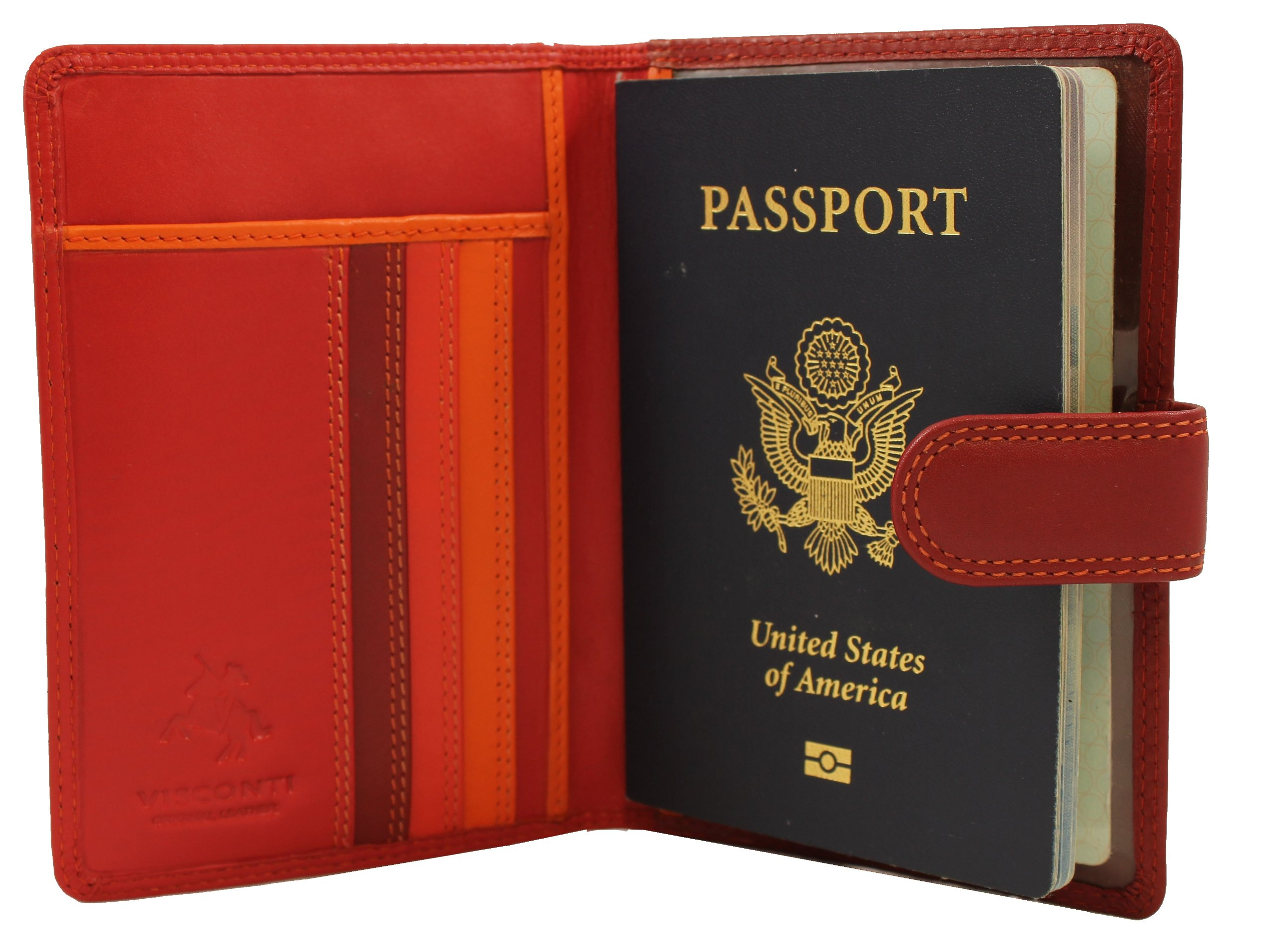 Visconti RFID Blocking Leather Passport Wallet, Red Multi, One Size