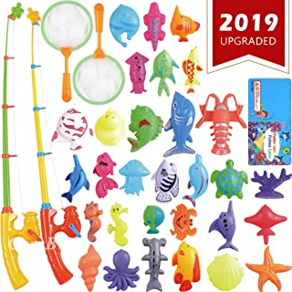 CozyBomB Magnetic Fishing Toys Game Set for Kids for Bath Time Pool Party with Pole Rod Net, Plastic Floating Fish - Toddler Education Teaching and Learning Colors Ocean Sea Animals