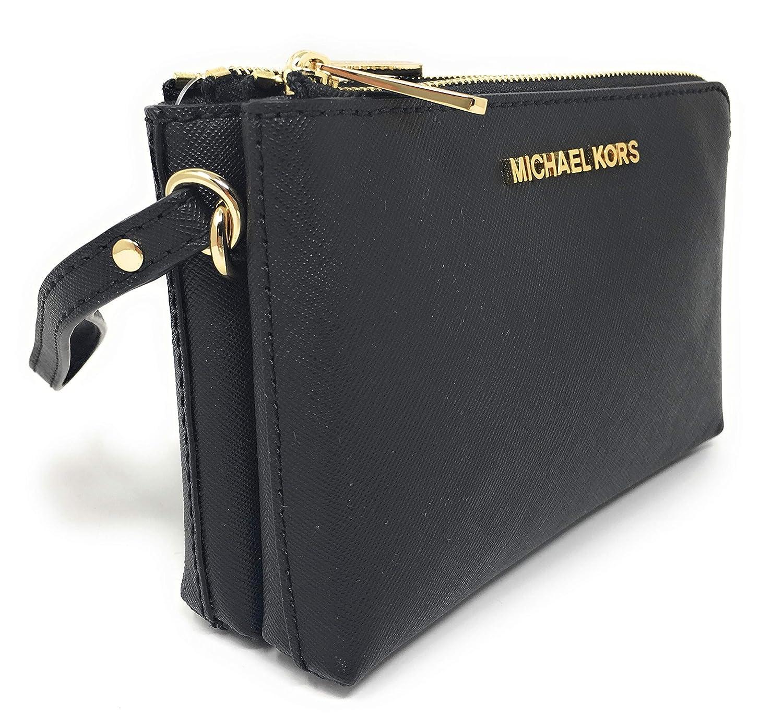 ccacf8d5438a Michael Kors Jet Set Travel Large Double Gusset Top Zip Saffiano Leather  Wristlet (Black)  Handbags  Amazon.com