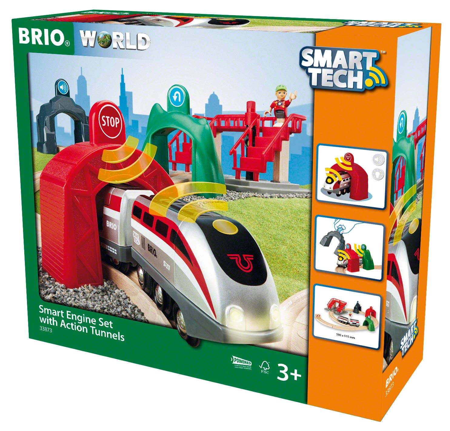 BRIO World - 33873 Smart Tech Engine Set with Action Tunnels   17 Piece Train Toy with Accessories and Wooden Tracks for Kids Age 3 and Up