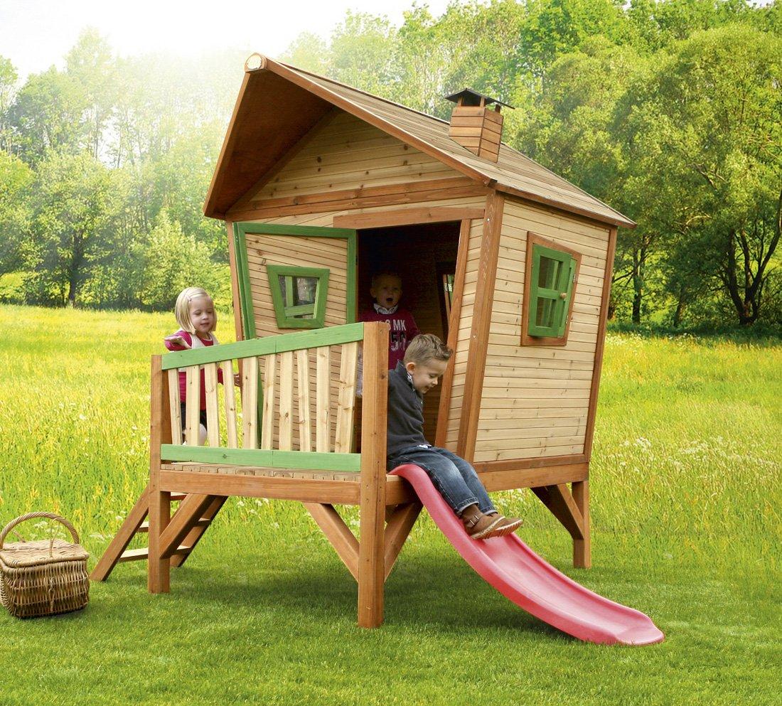 Axi Kinder Spielhaus Iris - das Stelzenhaus mit den schrägen Wänden, Fenstern und Türe