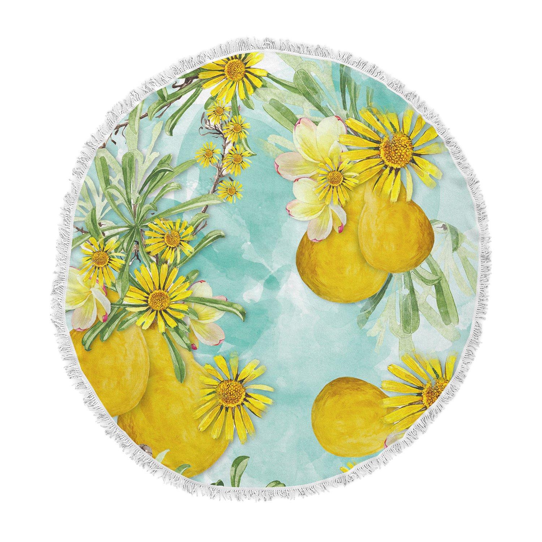 Kess InHouse Liz Perez Sunny Day Yellow Floral Round Beach Towel Blanket