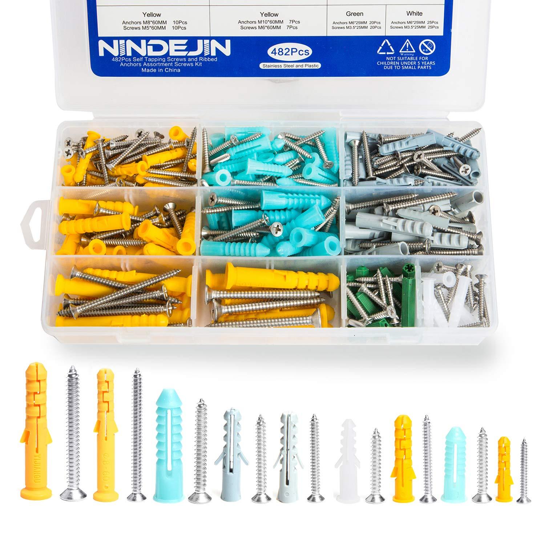 Dü bel Set Schrauben-Sortiment, 482Pcs Selbstschneidende Schraube Sortiment Kit, NINDEJIN M3.5 M4.2 M5 M6 Expansion Tube Schraubensä tze Aufbewahrungsbox