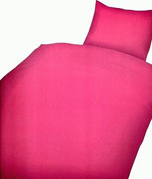 4 tlg Bettwäsche Mikrofaser Pink 135x200 cm Einfarbig Bezug Kissen Schlafzimmer