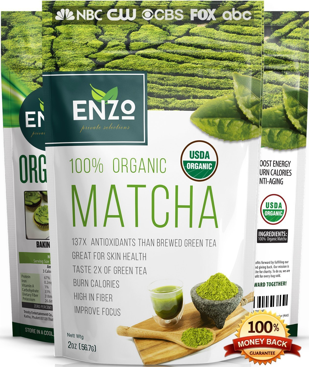 Matcha Green Tea Powder 2oz - Strong Milky Taste USDA Organic Certified - 137x Antioxidants Over Brewed Green Tea - Great for Latte, Smoothie, Ice Cream, Baking & Alternative Coffee Substitute
