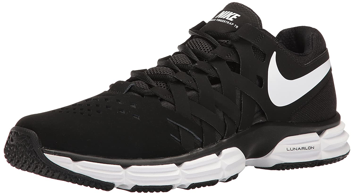NIKE Men's Lunar Fingertrap Cross Trainer B00B3D12RI 15 4E US|Black/White - Black