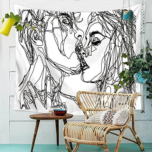 Hliyty Women men Kissing Tapestry Pink Wall Hanging Decor Line Art Home Decor, Lovely Bedroom Living Room Dorm Wall Hanging Tapestry Beach Throw Pattern1 7959 Inch