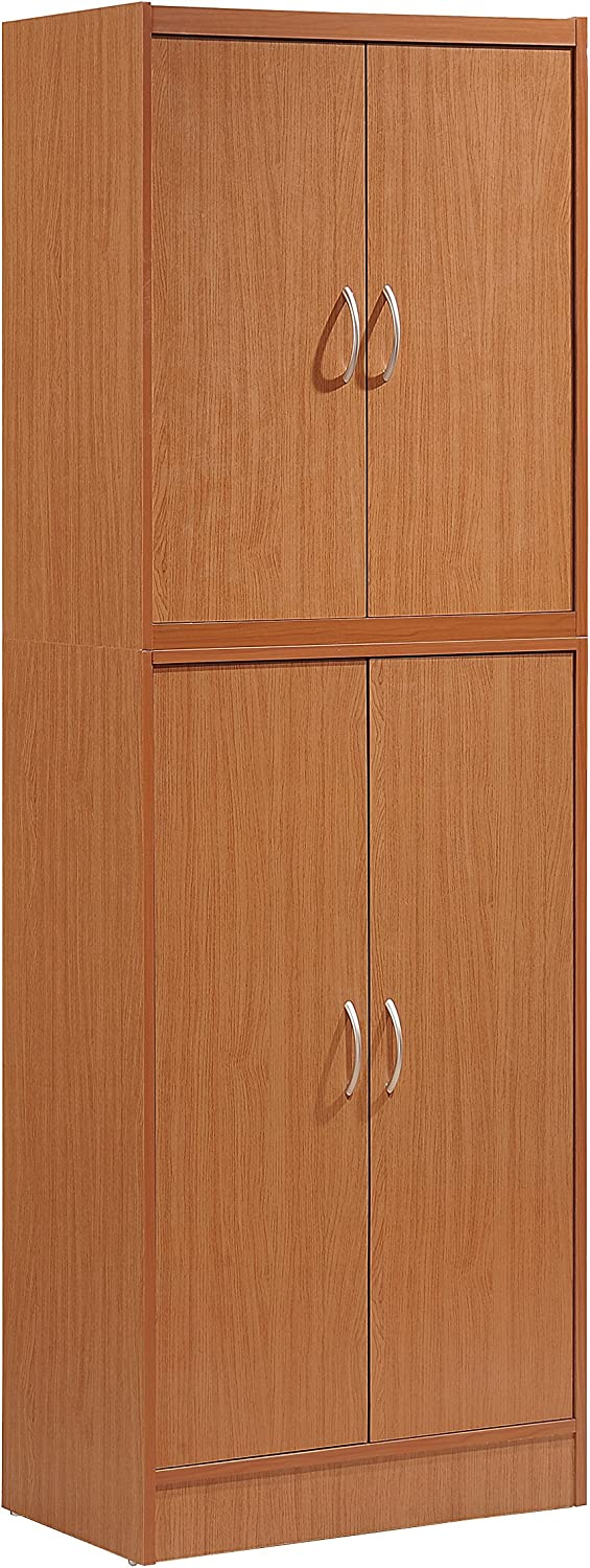 Hodedah 4 Door Kitchen Pantry with Four Shelves, Cherry