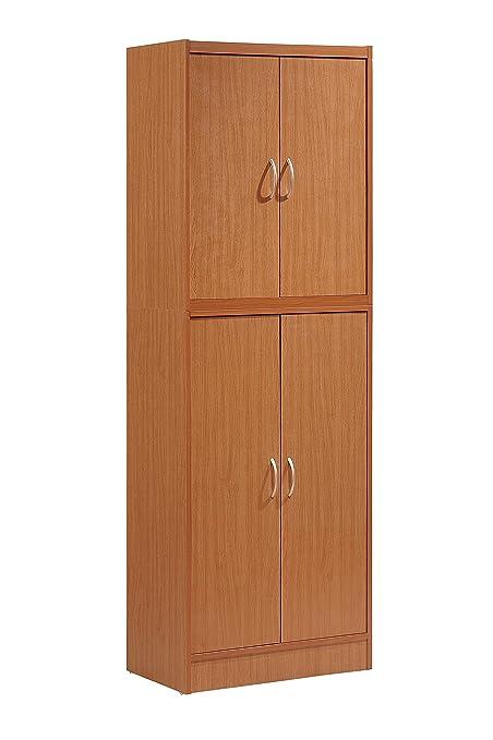 Bon HODEDAH IMPORT Hodedah 4 Door Kitchen Pantry With Four Shelves, Cherry