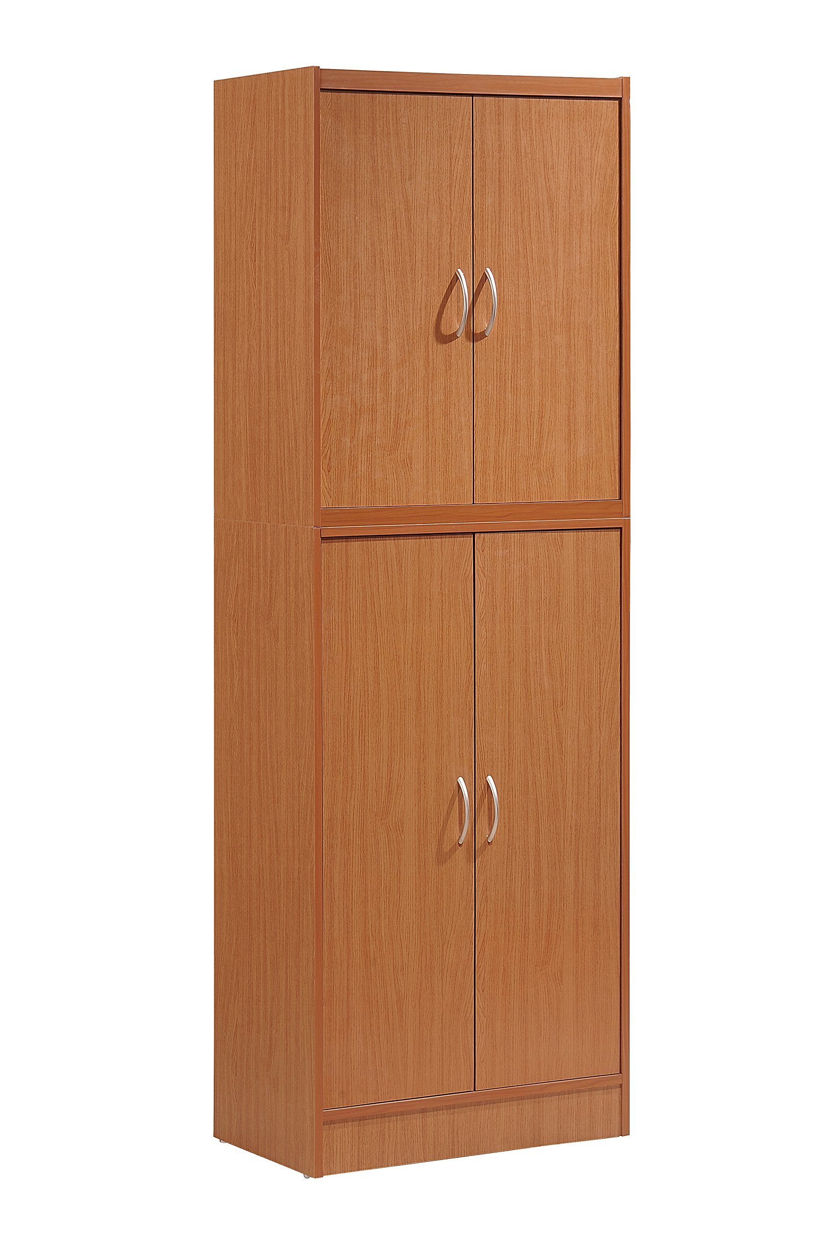 HODEDAH IMPORT Hodedah 4 Door Kitchen Pantry with Four Shelves, Cherry