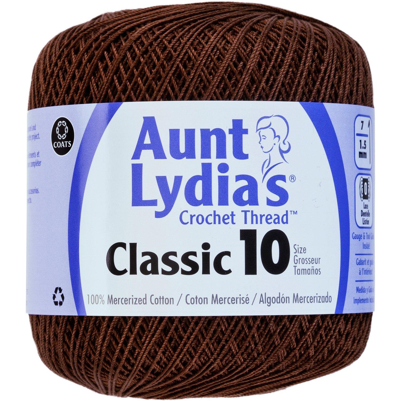Coats Crochet 154-131 Aunt Lydia's Crochet, Cotton Classic Size 10, Fudge Brown 235480