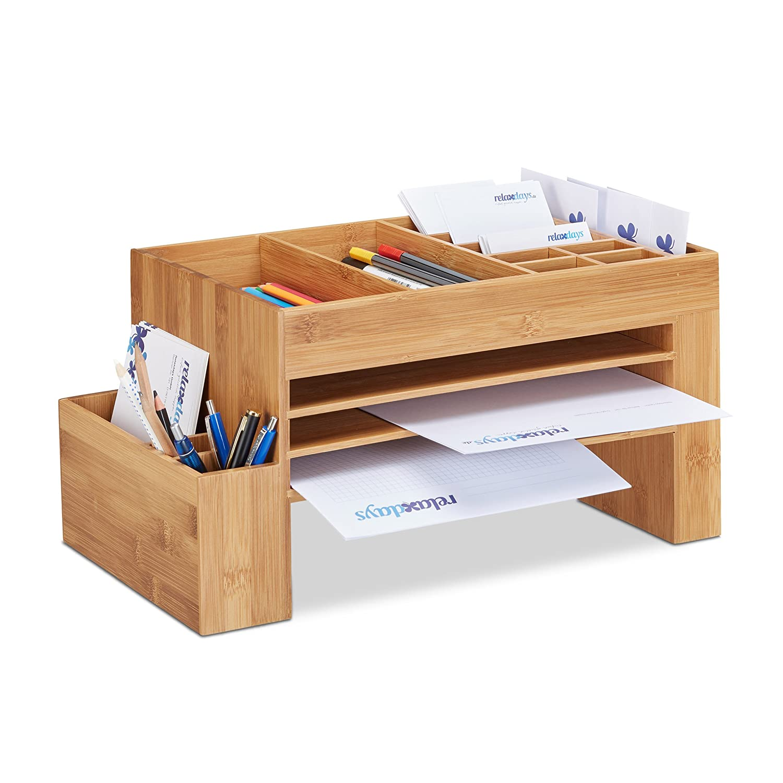 Relaxdays Schreibtisch-Organizer Bambus, Ablagesystem f. Büro, Aufbewahrungsbox, Briefablage, HBT 20x40x21,5 cm, natur Ablagesystem f. Büro 10021562