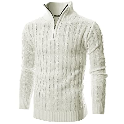 WSPLYSPJY Men Casual Twisted Knitted Turtleneck Slim Fit High Neck Sweater Pullovers