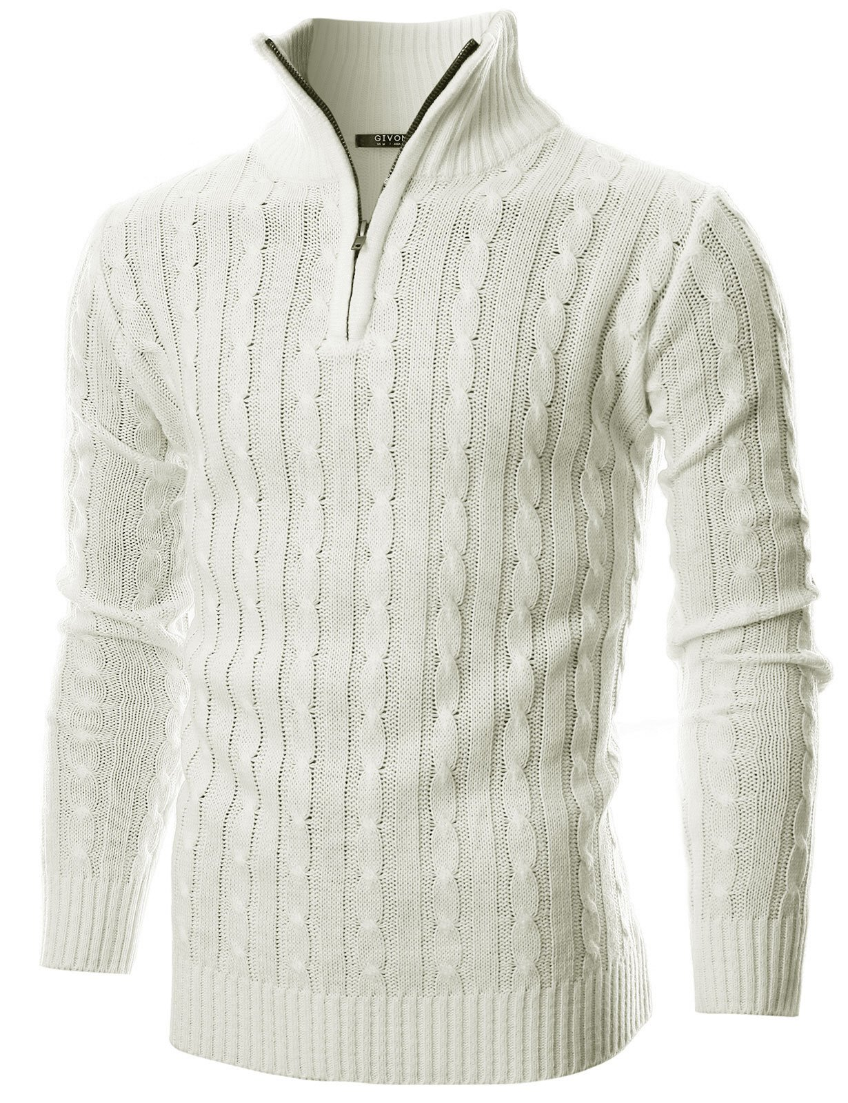 GIVON Mens Slim Fit Cable Knit Quarter Zip Long Sleeve Turtle Neck Pullover Sweater/DCP044-IVORY-S