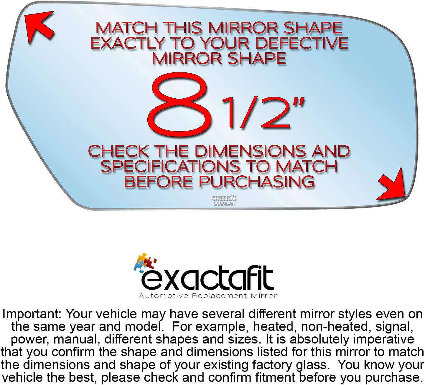 Driver Side Rear View Mirror Glass Replacement Left Hand Side Convex Fits 2003 2004 2005 2006 2007 Cadillac CTS by exactafit 8334R Adhesive Install LH