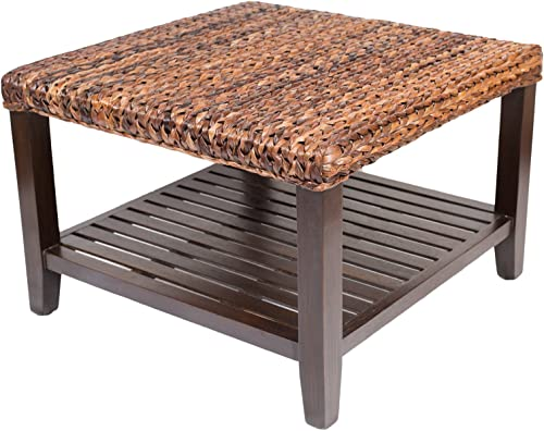 BIRDROCK HOME Woven Seagrass Coffee Table – Mahogany Wood Frame – Fully Assembled