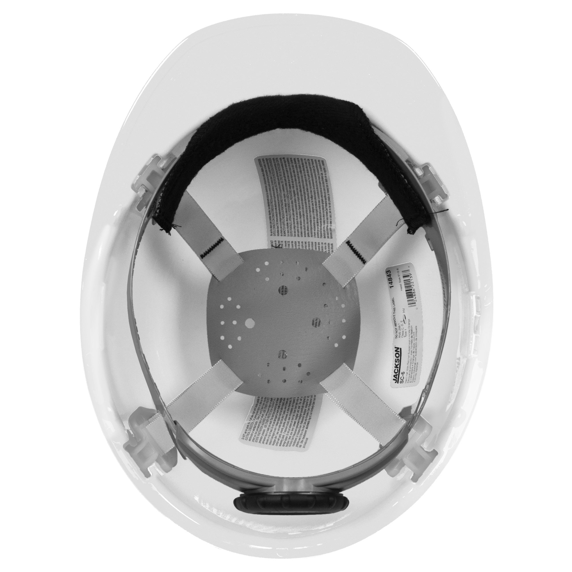 Jackson Safety SC-6 Hard Hat (14834), 4-Point Ratchet Suspension, Smooth Dome, Meets ANSI, White, 12 / Case by Jackson Safety (Image #2)