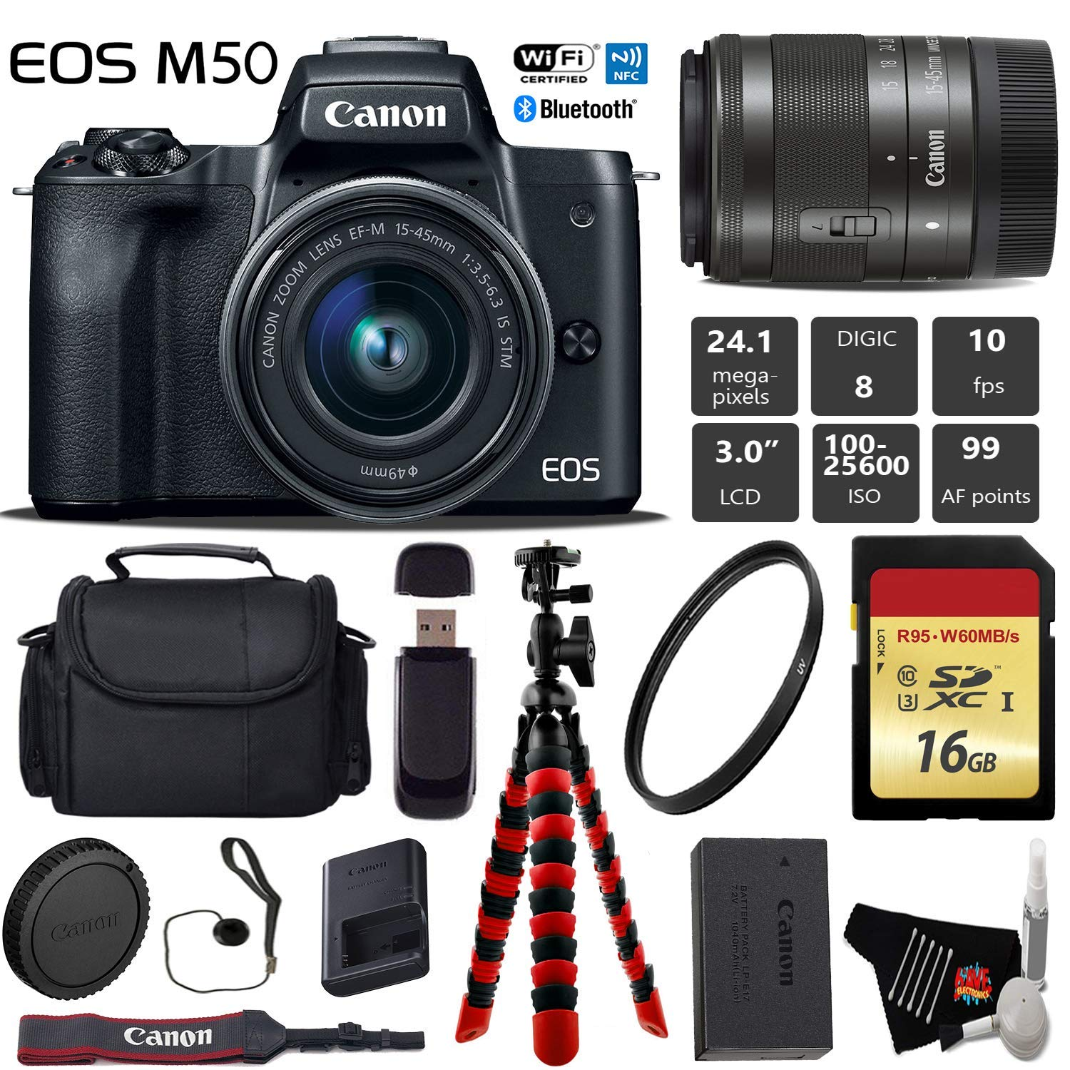 Canon EOS M50 Mirrorless Digital Camera with 15-45mm Lens + Flexible Tripod + UV Protection Filter + Professional Case + Card Reader - International Version Kit by Canon