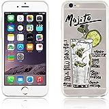 JAMMYLIZARD | Cover custodia in Silicone Trasparente con Sketch per iPhone 6 e 6s, MOJITO