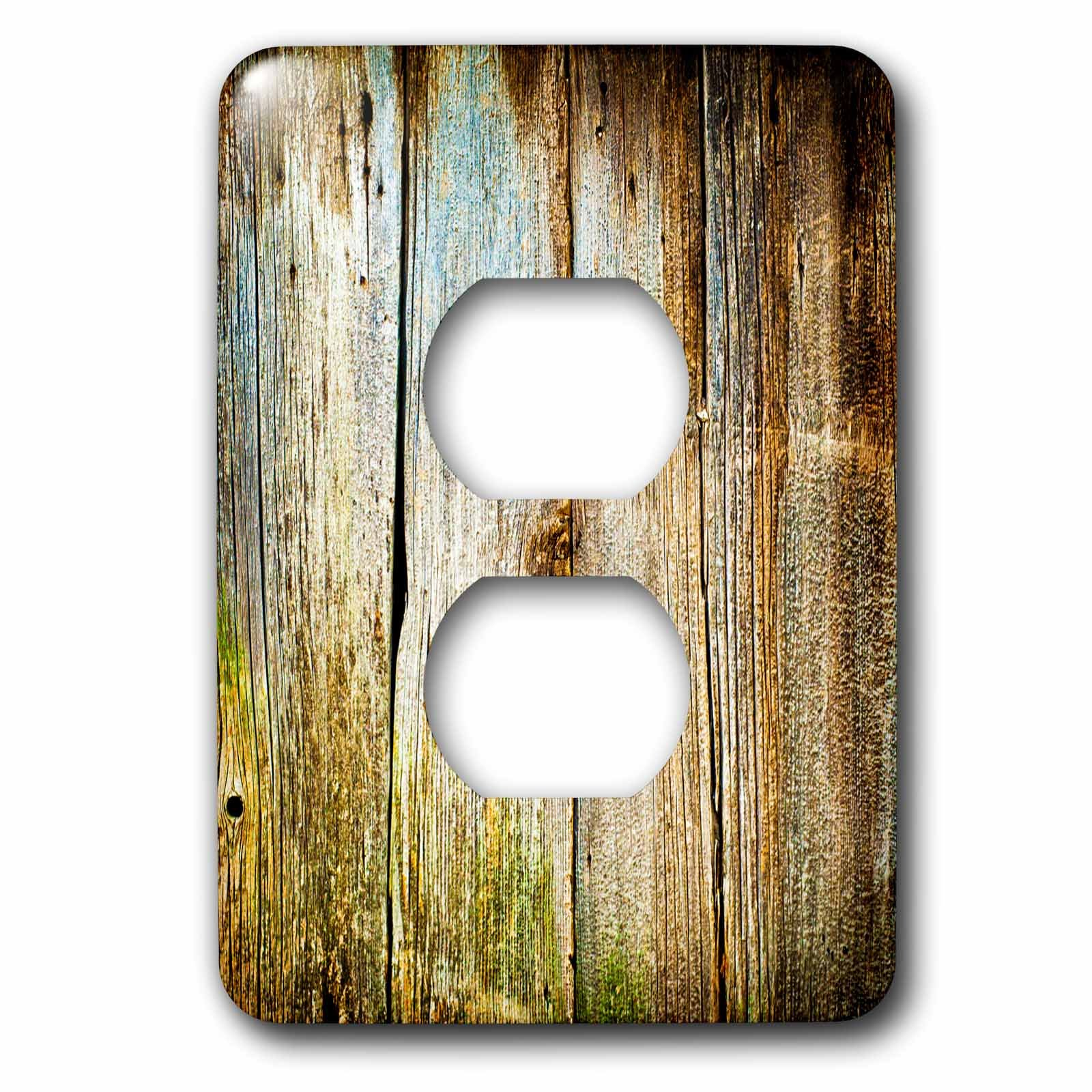 3dRose lsp_239942_6 Distressed Brown Barn Wood Effect Plug Outlet Cover