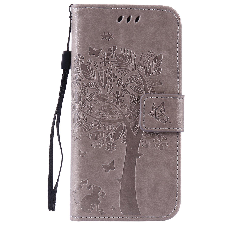 C-Super Mall-UK Custodia iPhone 6/iPhone 6S, Sbalzato Albero Gatto Farfalla Modello PU Pelle Portafoglio Stand Flip Cover per Apple iPhone 6/iPhone 6S (4.7 Inch)- Viola Chiaro C-64.7yamaosu12