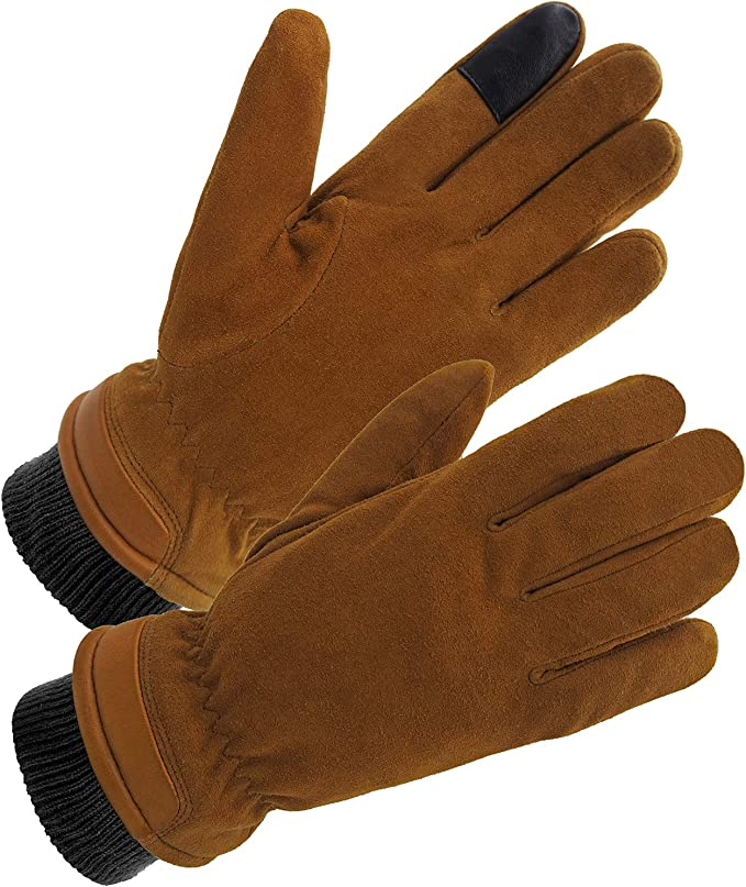 SKYDEER Premium Genuine Deerskin Suede Leather Touch Screen Winter Gloves