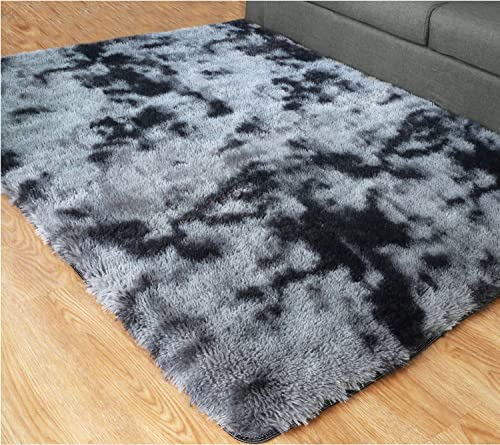 PAGISOFE Ultra Soft Abstract Area Fluffy Rug Black and Gray 4×6 Feet Carpet