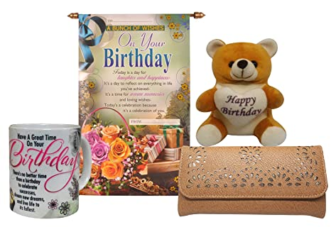 Saugat Traders Birthday Gift Set For Girls Combo Of Coffee Mug Scroll Card Teddy And Wallet Amazonin Toys Games