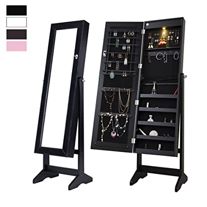 Beau Cloud Mountain Mirrored Jewelry Cabinet Free Standing Lockable Jewelry  Armoire Full Length Floor Tilting Jewelry