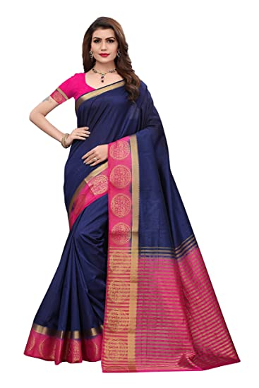f73e1bc6711340 Gauri Laxmi Enterprise Women s Art Silk Sarees (Navy Blue)  Amazon.in   Clothing   Accessories