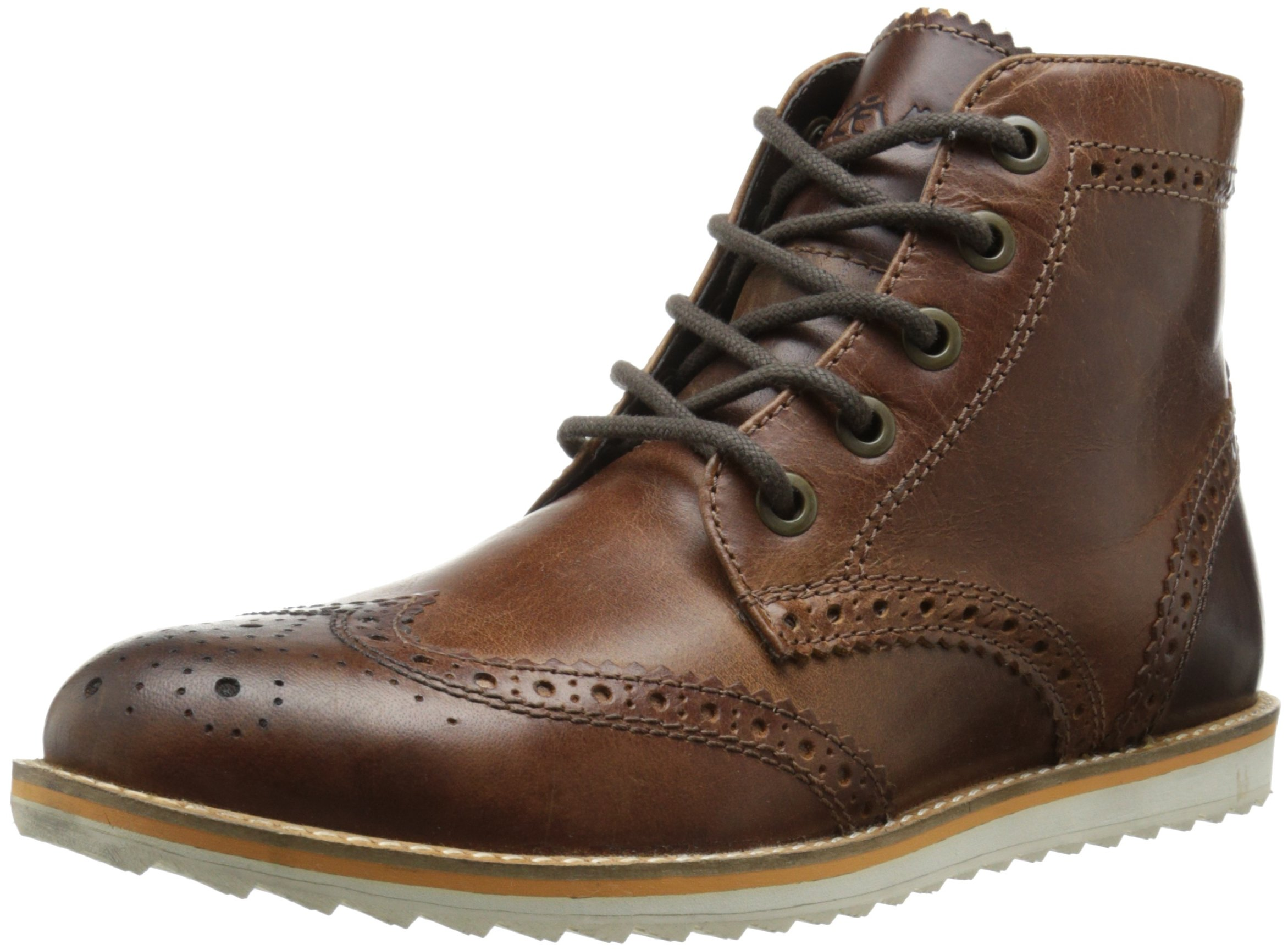 Crevo Men's Boardwalk Wing Tip Boot, Brown Leather, 11 M US