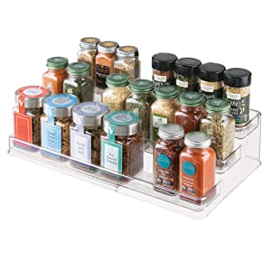 "InterDesign Linus Plastic Expandable Multi-Level Spice Rack, 3-Tiered Customizable Organizer for Kitchen, Bathroom, Office Cabinet and Countertop 26.29"" x 9.50"" x 4.11"" extended Clear"
