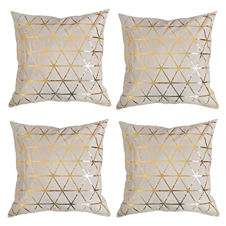 03fcd063354 Amazon.com  Deconovo Hand Made Decorative Recycled Cotton Pillow Cover Foil  Print Geometic Cushion Covers with Invisible Zipper for Bedroom