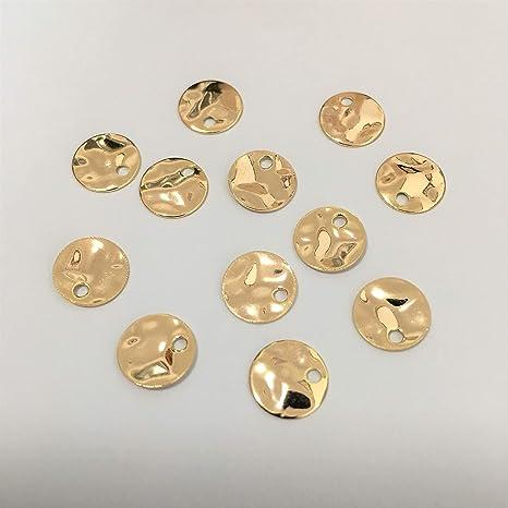 12pcs Antique Copper Wave Disc Hammered Disc Rhodium Antique Bronze 14mm Purple Enamel Disc Charm Metal Casting Blanks Charm Gold