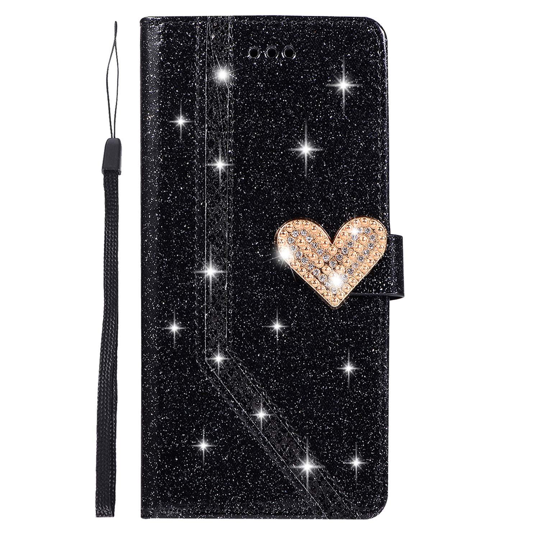 Lila Homikon PU Leder H/ülle Sch/ön Bling Gl/änzend Glitzer Diamant Liebe Schutzh/ülle Brieftasche Lederh/ülle Bookstyle Handyh/ülle Magnetverschluss Tasche Kompatibel mit Huawei P8 Lite 2017