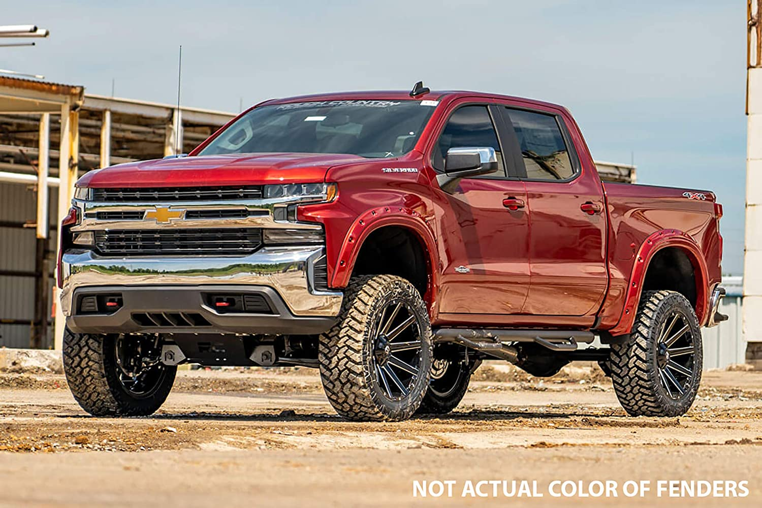 Rough Country Pocket Fender Flares Flat Black Compatible w// 2019 Chevy Silverado 1500 F-C11911 Bolt On Style w//Rivets