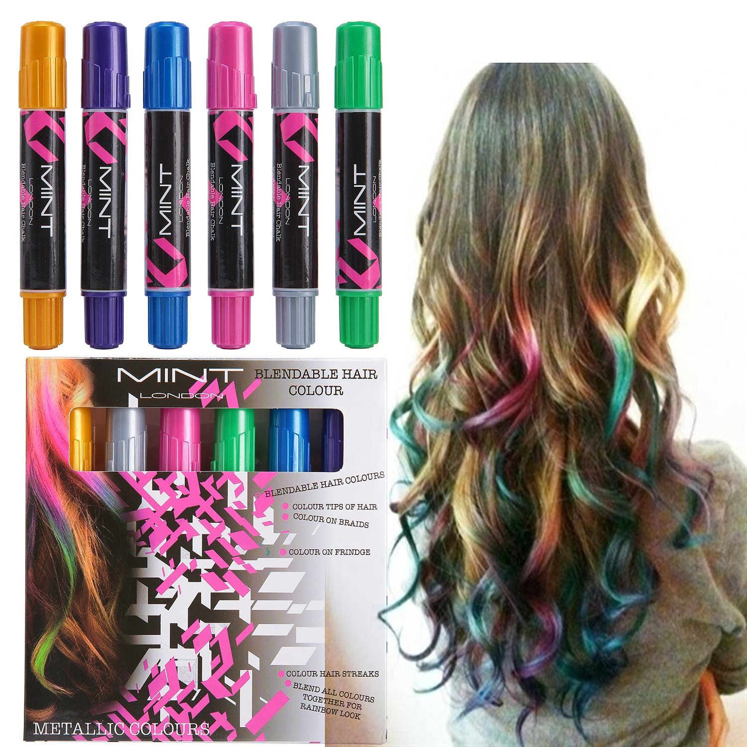Hair Chalk - Metallic Glitter Temporary Hair Color - Edge Chalkers - No Mess - Built in Sealant - Works on All Hair Colors - Color Essentials Set (6 Count) Romani Tech