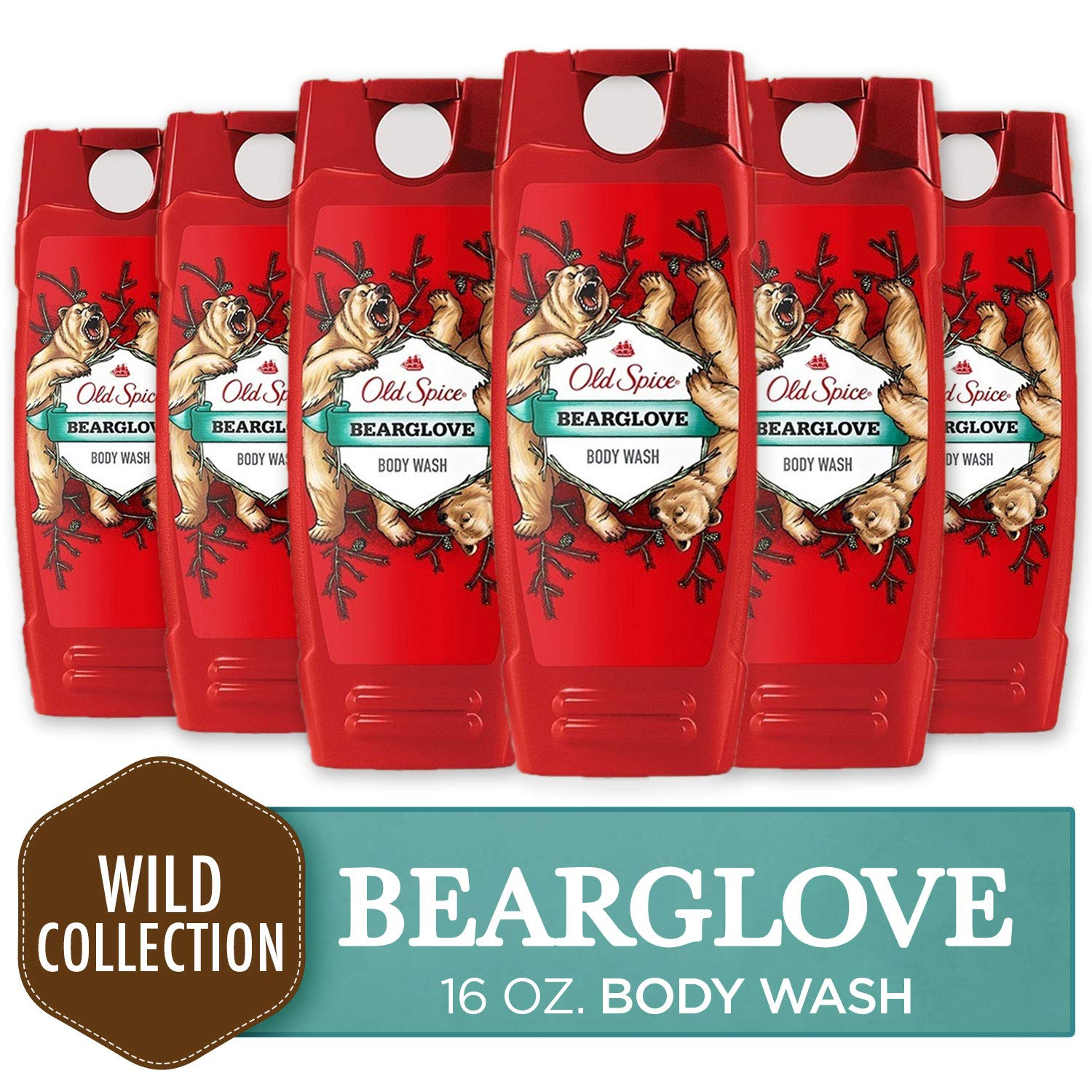 Body Wash for Men by Old Spice, Wild Collection Men's Body Wash, Bearglove, 16 Fluid Ounce (Pack of 6)