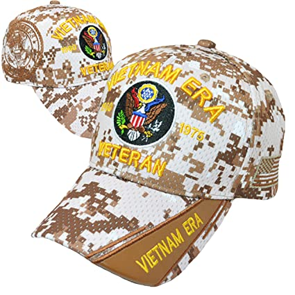 6413e663722eab Buy Caps and Hats Vietnam ERA Veteran Embroidered Military Baseball Cap and  Sticker Mens (Desert