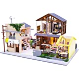 Cool Beans Boutique Miniature Dollhouse DIY Kit - Wooden Japanese Home with a Garage or Entertainment Room - with Dust Cover (Scale 1:24 Japanese Home)
