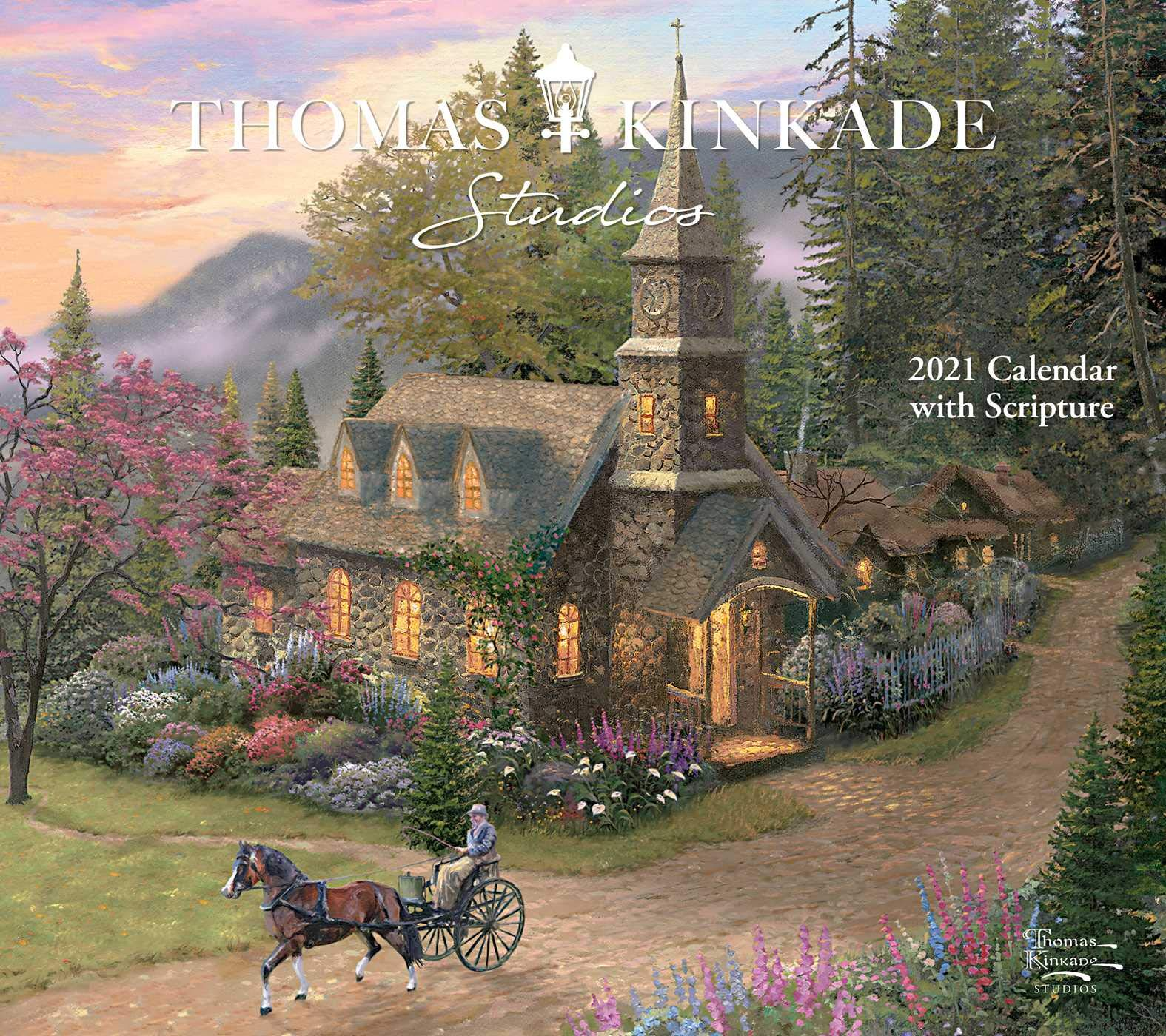 Thomas Kinkade Studios 2021 Deluxe Wall Calendar with Scripture