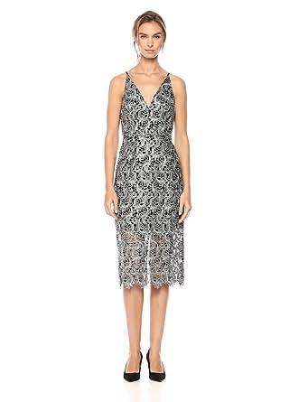 1f3375dbdb0 Dress the Population Women s Aurora Lace Plunging Spaghetti Strap Midi  Sheath Dress