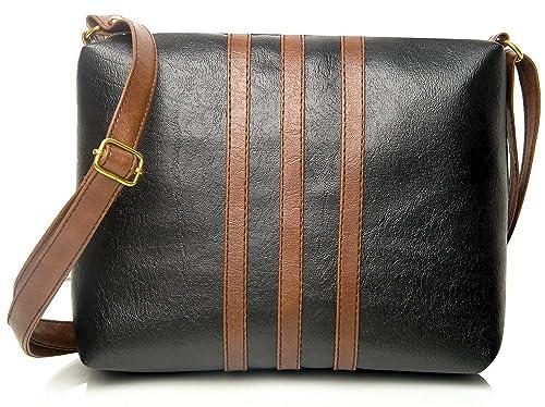d2ab5fc16bf Mammon Women's Pu Leather Handbag Black (Slg-3Strip-Tb,27X21 Cm):  Amazon.in: Shoes & Handbags