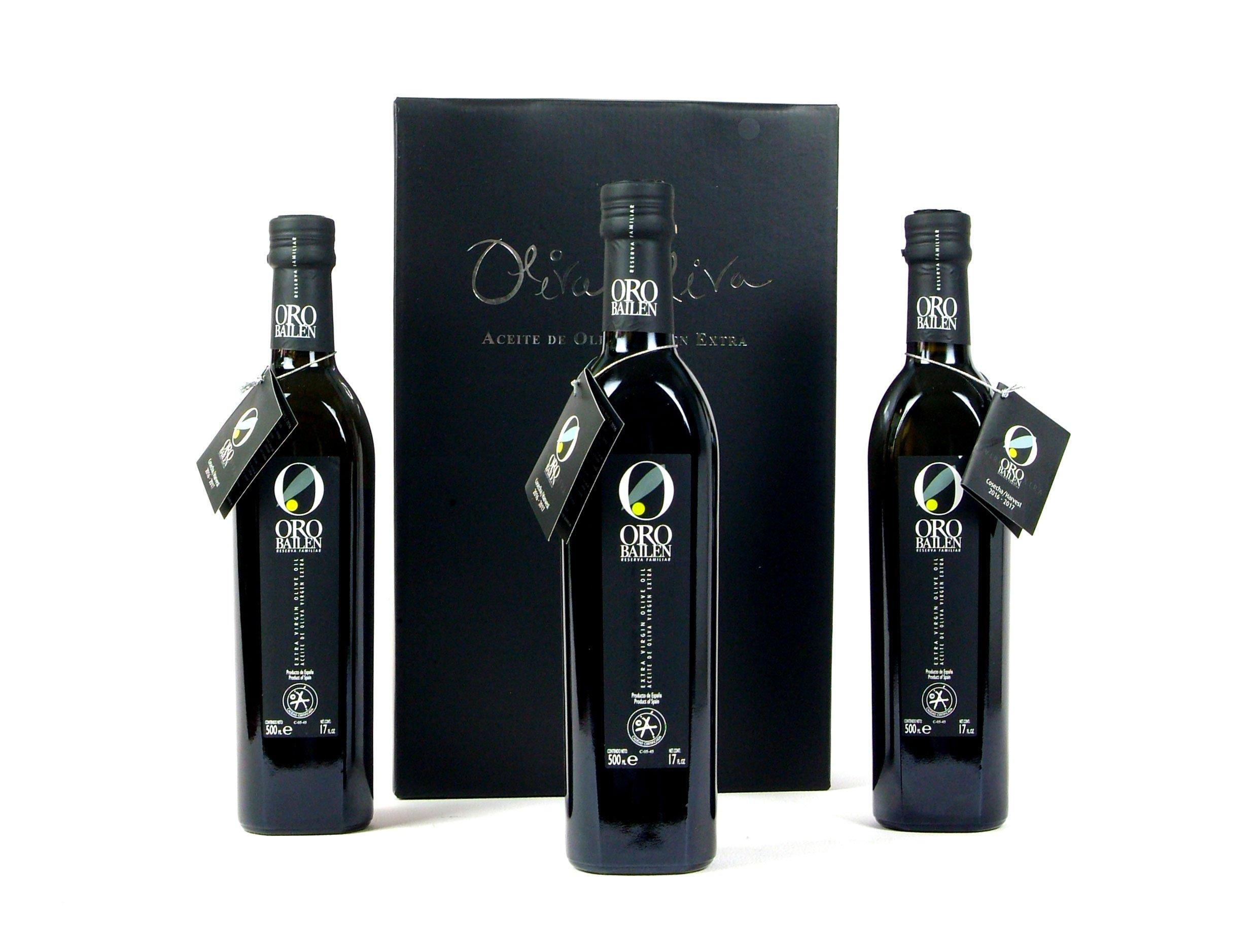 3 bottles Oro Bailen Family Reserve - Extra Virgin Olive Oil, New Harvest 2017, 17-Ounce / 500 ml by Oro Bailen (Image #1)