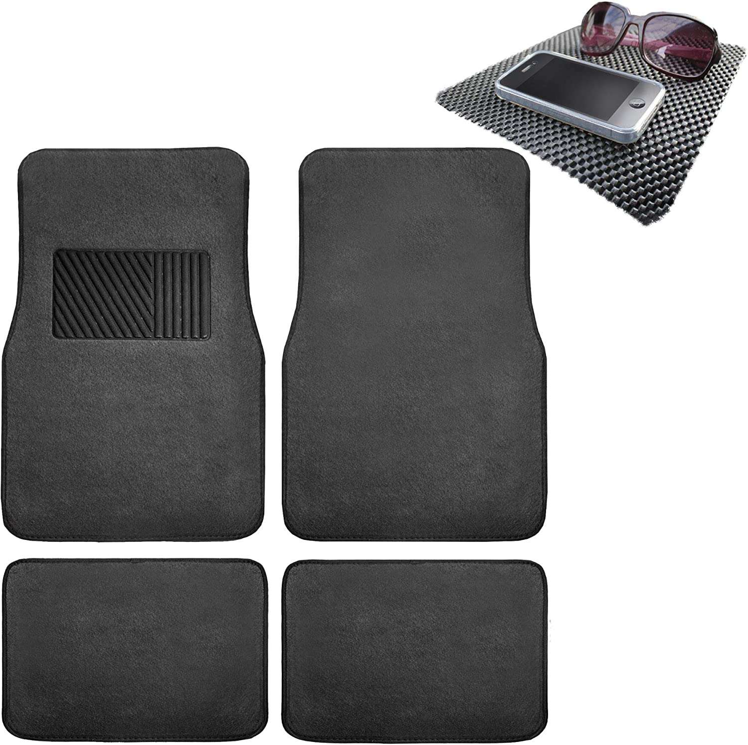 TLH Carpet Car Floor Mats Univesal Fit with Heel Pad, Black Color w/Black Dash Pad